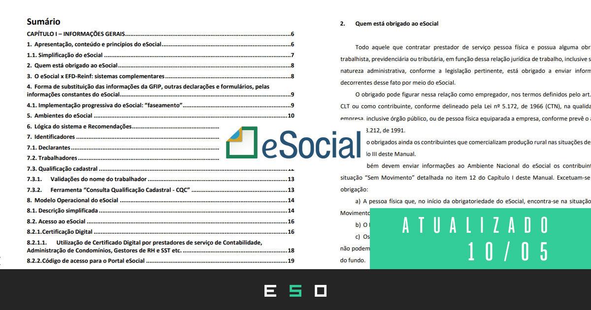 Baixar Gratuitamente - Manual de Orientação do eSocial v. S-1.0 [NOVA VERSÃO 10/05/2021] - Com Marcações