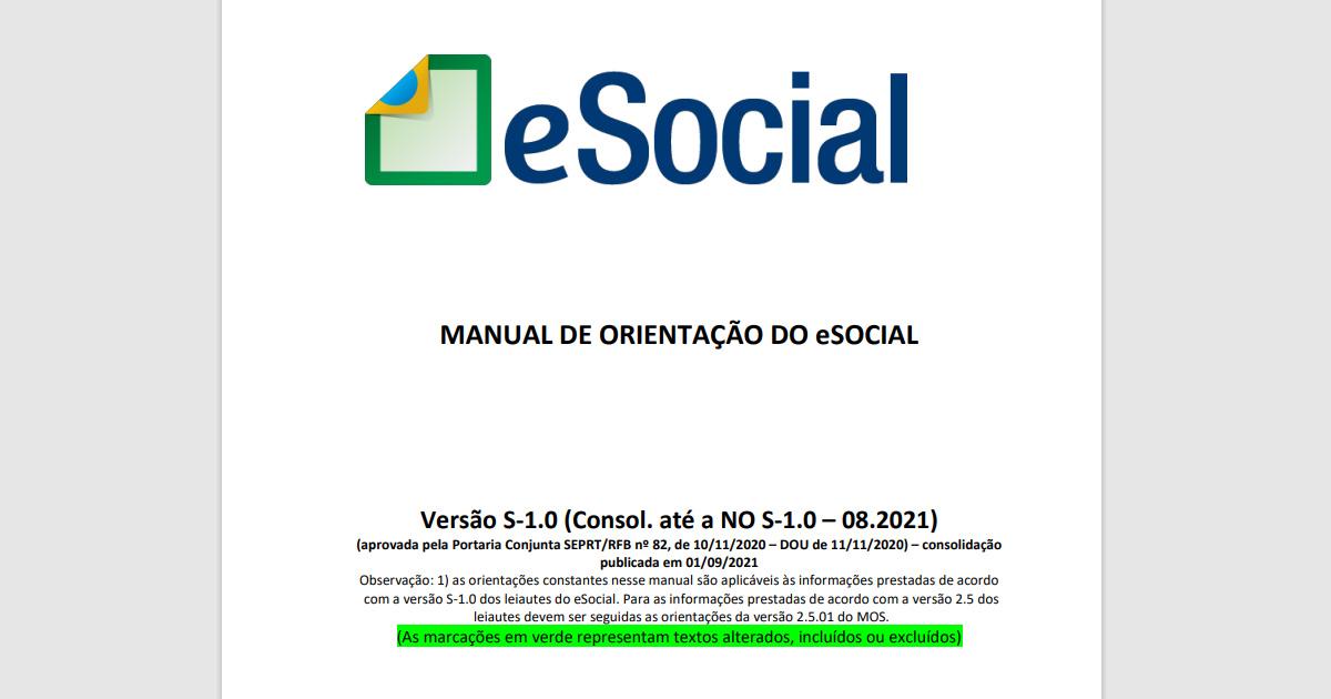 Baixar Gratuitamente - Manual de Orientação do eSocial v. S-1.0 [NO 08/2021] - Com Marcações