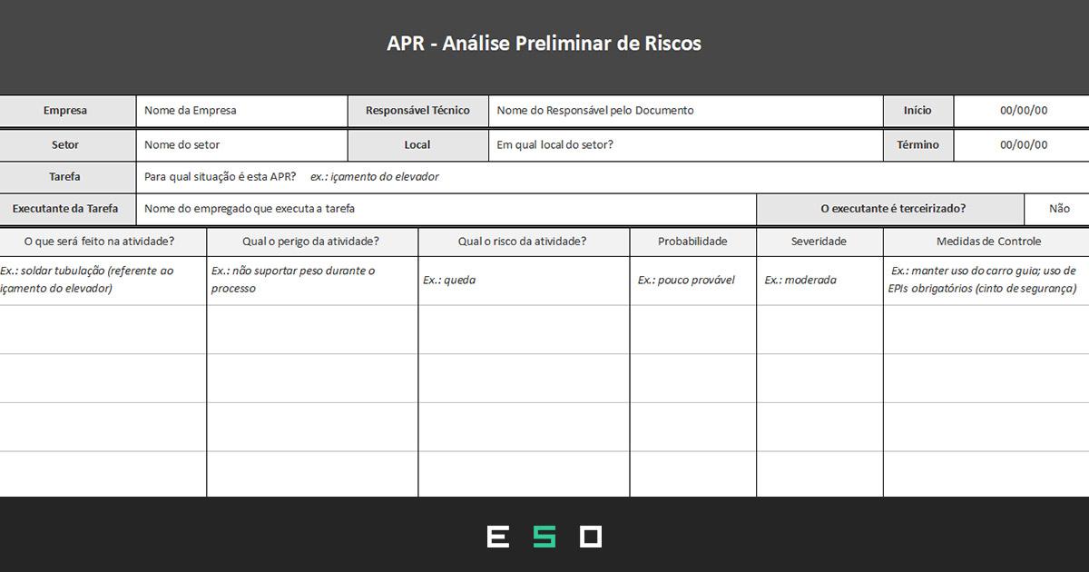 Baixar Gratuitamente - Modelo de APR - Análise Preliminar de Riscos em Planilha